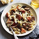 Minus the egg noodles  Chicken and Mushrooms in Garlic White Wine Sauce Recipe | MyRecipes.com