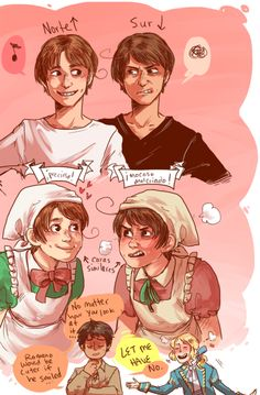 Northern and Southern Italy brothers. yeah, Feliciano is adorable and hug-able but if Lovino smiled my heart would n all actuality explode.