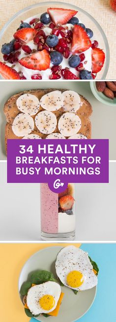 34 healthy breakfasts for busy mornings # breakfast greatist.c … – Breakfast Recipes Healthy Fast Food Breakfast, Healthy Desayunos, Breakfast Desayunos, Healthy Snacks, Healthy Breakfasts, Healthiest Breakfast, Healthy Drinks, Dinner Healthy, Fast Breakfast Ideas
