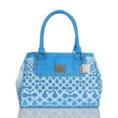 Coach Knitted Monogram Stud Medium Blue Satchels ESC Is Not Only The Symbol Of Nobleness, But Also The Guarantee Of Brand. #COACH