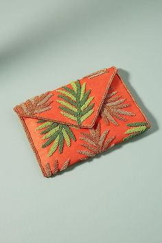 10 Embroidered Bags you need for Summer 2018 - Beach bound clutch embroidered leaves - Embroidered Leaves, Embroidered Bag, Beaded Clutch, Beaded Bags, Over 50 Womens Fashion, Fashion Tips For Women, 1960s Fashion, Fashion Spring, Fashion Fashion