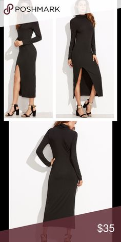 """NEW Black Maxi Slit Dress Sz S Fabric:Fabric is very stretchy Type:Pencil Sleeve Length:Long Sleeve Brand New without tag. Material:95% Rayon 5% Polyester Neckline:Cowl Neck Silhouette:Sheath. Shoulder:14.6"""" Hip Size:33"""" Waist Size:26.8"""" Sleeve Length:23.6"""" Bust:32.7"""" Dresses Maxi"""