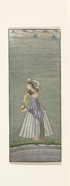 A Lady Applying Henna to Her Raised Foot Attributed to Ustad Mohamed, son of Murad Date: ca. 1725 Culture: India (Rajasthan, Bikaner) Medium: Ink, opaque watercolor, and gold on paper Dimensions: 5 11/16 x 2 1/4 in. (14.4 x 5.7 cm) Classification: Paintings Credit Line: Gift of Mr. and Mrs. Uzi Zucker, 1977 Accession Number: 1977.444.2