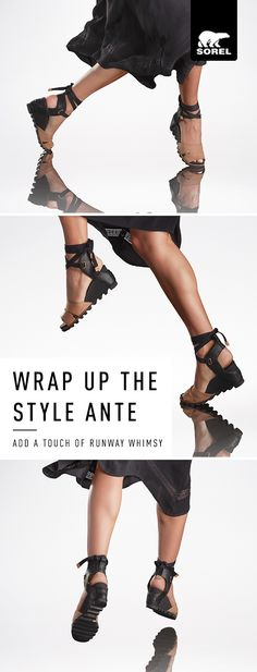 Shop SOREL's iconic all day wedge – the Joanie Wrap. A two-tone full grain leather upper rests atop our most comfortable wedge, while a cotton webbed ankle strap with tie adds a touch of runway whimsy. The best feature of the {Joanie Wedge} collection? Every style feels as great as it looks.