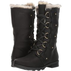 5ca9d120ec4817 SOREL Emelie Lace Premium (Black) Women s Waterproof Boots ( 220) ❤ liked  on Polyvore featuring shoes