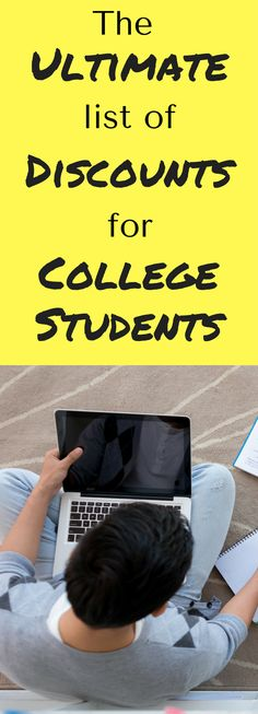 The ultimate list of discounts for college students / college student discounts / college students / college tips / tips for college students / college / save money college / college money saving College Student Discounts, College Student Budget, College List, Financial Aid For College, Scholarships For College, College Hacks, College Fun, College Savings, Budgeting For College Students
