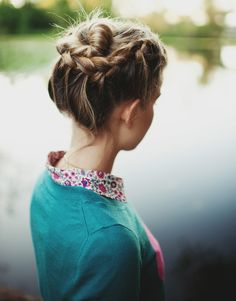 Braided Up-Do with floral blouse and teal blue cardigan