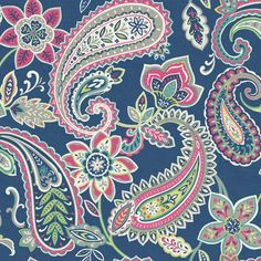 Retro inspired paisley wallpaper in soft tones on a deep blue background. From the Paradise collection, Indira 98384 by Holden. Available in NZ through Guthrie Bowron stores.