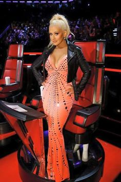 Christina Aguilera wearing CD Greene Crystal Embellished Gown, Christian Louboutin New Very Prive Patent Leather Peep-Toe Pumps, IRO Zekina crop leather jacket with studded belt Christina Aguilera The Voice, Christina Aguilera Stripped, Coral Gown, Gown Photos, Star Wars, Embellished Gown, Female Singers, Get The Look, Kylie Jenner