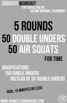 CrossFit Workouts for Traveling or Having Minimal Equipment | Double-unders & Squats | www.barbellsandbaking.com