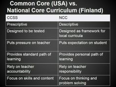 CCSS in the US vs. NCC in Finland