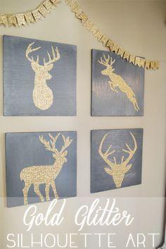 DIY gold glitter deer head silhouette art on betterafter.net