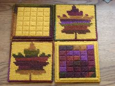Leaf Coasters Made in Plastic Canvas A Set of 4