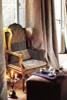 Chair, Candles, Fabric, Tea for one...Divine