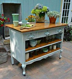 New kitchen storage island old dressers ideas Refurbished Furniture, Repurposed Furniture, Furniture Makeover, Painted Furniture, Dresser Repurposed, Metal Furniture, Tv Tray Makeover, Chair Makeover, Kitchen Ikea