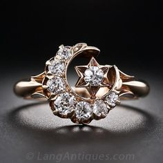 Victorian Crescent Moon and Star Diamond Ring - 10-1-5537 - Lang ...