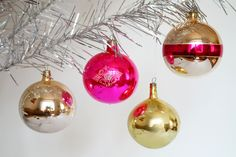 Christmas glass ornaments Set of 4 vintage balls Pink Gold tree decoration Xmas decor New Year's ornaments by Retronom on Etsy