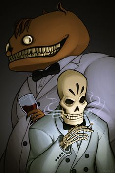"""""""We may have years, we may have hours, but sooner or later, we push up flowers."""" - Manny and Glottis from Grim Fandango Batman Arkham Knight, Adventure Games, Fan Art, Team Fortress 2, Bioshock, Film Serie, Geek Culture, Fun Games, Video Games"""