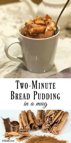 Two-Minute Bread Pudding in a Mug with Browned Butter Vanilla Sauce - Mug Recipes - Bread Microwave Mug Recipes, Microwave Bread, Pudding In A Mug, Bread And Butter Pudding, Easy Bread Pudding, Köstliche Desserts, Delicious Desserts, Dessert Recipes, Single Serve Desserts