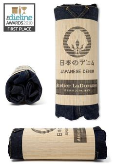 Small-scale denim label Atelier LaDurance packaged their Japanese denim in a promotional fine bamboo mat Shirt Packaging, Clothing Packaging, Brand Packaging, Packaging Ideas, Japanese Packaging, Japanese Denim, Denim Branding, Packaging Design Inspiration, Bottle Design