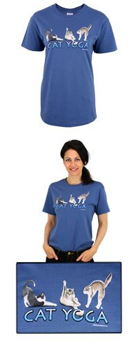 Cat Yoga T-Shirt -- purchase benefits animal rescue via The Animal Rescue Site