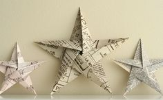 Fold it into a pentagon the origami way- then most of the folding is already done. 5 pointed origami star Christmas ornaments - step by step instructions Book Crafts, Christmas Projects, Holiday Crafts, Fun Crafts, Christmas Paper Crafts, Newspaper Crafts, Diy Paper Crafts, Noel Christmas, Christmas Tree Ornaments