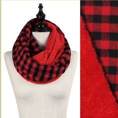 """NWT Red Plaid Sherpa Infinity Scarf NWT Red Lumberjack Plaid Sherpa Lined Infinity Scarf. Soft flannel material with a Sherpa lining that makes this your best accessory for cold weather! Width is approx 11"""", length 60"""". No Trades and No Paypal⭐️PLEASE DO NOT PURCHASE THIS LISTING, COMMENT AND I WILL MAKE A SEPARATE LISTING TO BUY⭐️ Accessories Scarves & Wraps"""