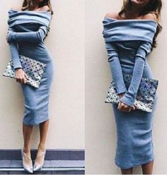 Sexy Off-The-Shoulder Long Sleeve Solid Color Bodycon Women's Dress