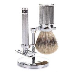 Muhle Traditional 3-Piece Shaving Set with Safety Razor and Silvertip Badger Brush, Polished Chrome Mais