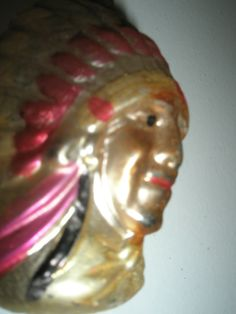 Antique Christmas Ornament Mercury Glass Figural Native American Indian Motif