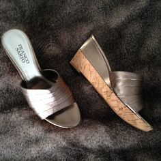 SALE Franco Sarto Pewter Chunky Mule Sandal Wedges Please offer privately. Franco Sarto Shoes Wedges