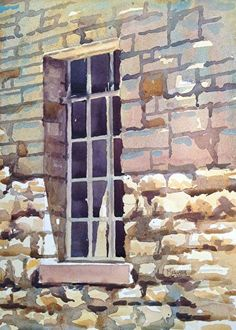 Stone Wall by Spencer Meagher Watercolor ~ 14 x 10 Landscape Bricks, Landscape Architecture Drawing, Watercolor Architecture, Brick Architecture, Landscape Drawings, Watercolor Landscape, Landscapes, Watercolor Pictures, Watercolor Paintings