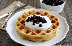 Gluten-Free Vegan Belgian Waffles...vegan, gluten-free, grain-free, dairy-free and no processed sugars!  Top with homemade coconut cream, fresh fruit or maple syrup.