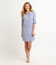 Shop Linen Stripe Shirt Dress at vineyard vines.  Easy, good for work, great to accessorize