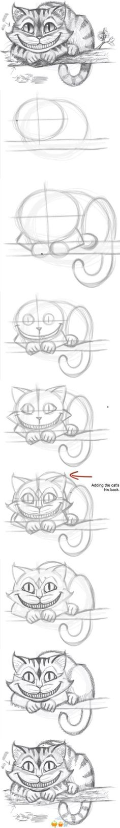 Meine Disney Zeichnung - Cheshire Cat from Alice In Wonderland. How to draw the Cheshire Cat - Logischesmädchen 44 - Pin Disney Drawings, Cool Drawings, Drawing Sketches, Drawing Ideas, Drawing Tips, Drawing Disney, Sketching, Sketch Ideas, Drawing Stuff