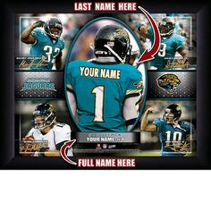Jacksonville Jaguars NFL Football - Personalized Action Collage Print / Picture. Have you or someone you know ever dreamed about playing next to your favorite Jacksonville Jaguars players. You or someone you know can be right there in the locker room with Jacksonville Jaguars players! Optional framing with mat is available. Perfect for gifts, rec room, man cave, office, child's room, etc. ( www.oakhousesportsprints.com )