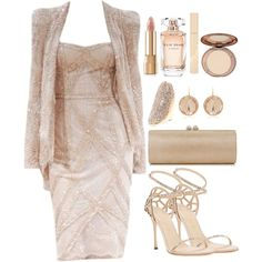Untitled #3367 by natalyasidunova on Polyvore featuring Sergio Rossi, Jimmy Choo, Vince Camuto, Larkspur & Hawk, Dolce&Gabbana, Stila, Elie Saab and Zuhair Murad