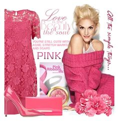 """Pink Oktober"" by samketina ❤ liked on Polyvore featuring Gina Bacconi, INC International Concepts and Jimmy Choo"