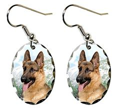 "German Shepherd Earrings. Super lightweight and small. Ovals measure just 0.875"" x .6"". Made of aluminum with a scalloped edge. The ear wires are silver plated. Packaged in a black, velour covered, jewerly box."