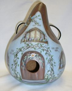 Country Cottage Garden Gourd Birdhouse  Hand by FromGramsHouse