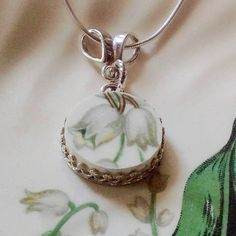 Broken China Jewelry-Lily of the by DinnerWearJewelry on Etsy
