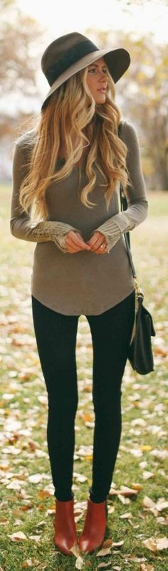 #street #style casual / olive knit  I don't think I could pull off the hat... But like the outfit.