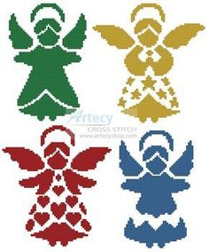 Artecy Cross Stitch. Angel Silhouettes Cross Stitch Pattern to print online.