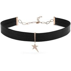 Diane Kordas Diamond, rose-gold & leather choker (€3.160) ❤ liked on Polyvore featuring jewelry, necklaces, pendant necklaces, diamond necklace, diamond star pendant, pave diamond pendant and leather choker necklaces