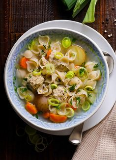 Turkey Meatball and Pasta Soup Recipe -- Quick healthy soup your kids will love. Gluten free, freezer friendly and makes great leftovers. #cleaneating