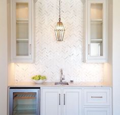 30 Elegant White Kitchen Design Ideas for Modern Home White Kitchen Backsplash, House, Home Kitchens, Home, Herringbone Backsplash, Kitchen Design, Kitchen Remodel, Kitchen Renovation, Home Decor