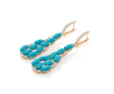 #Chic #earrings in 18kt rose gold, #turquoise and white diamonds. #CASATO - www.casatogioielli.com