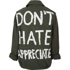 TOPSHOP 'Don't Hate Appreciate' Jacket ($110) ❤ liked on Polyvore