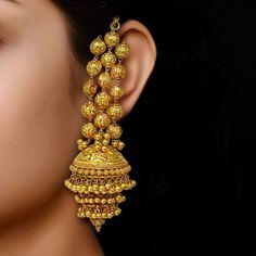 Jewelry OFF! Classic Jhumkis in Yellow Gold By Neeru Yellow Gold kt) at Velvet Case Gold Jhumka Earrings, Indian Jewelry Earrings, Jewelry Design Earrings, Gold Earrings Designs, Ear Jewelry, Bridal Jewelry, Jhumka Designs, Ankle Jewelry, Gold Necklace
