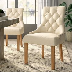 Greyleigh Margie Tufted Linen Upholstered Side Chair in Linen (Set of Comfortable Dining Chairs, Solid Wood Dining Chairs, Upholstered Dining Chairs, Dining Chair Set, Dining Area, Traditional Dining Chairs, Parsons Chairs, Side Chairs